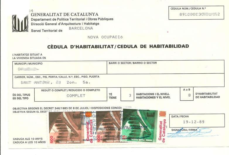 Cédula de habitabilidad nueva ocupación año 1989