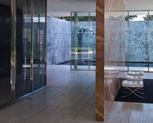 Pabellón de Alemania en Barcelona por Mies Van der Rohe.
